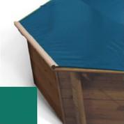 Bache a barres vert pour piscine bois Hexa Original 412 x 412
