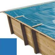 Bache à barres bleu pour piscine bois original 800 x 400
