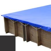 Bâche hiver carbone pour piscine bois original 305 x 305