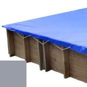Bâche hiver gris pour piscine bois original 305 x 305