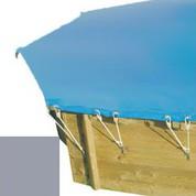 Bache hiver gris pour piscine bois original 430 X 430