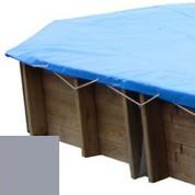 Bache hiver gris pour piscine bois original 436 x 336