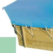 Bâche hiver secur amande pour piscine bois original hexa 400 x 400