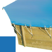 Bâche hiver secur bleu pour piscine bois original hexa 400 x 400