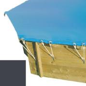 Bâche hiver secur carbone pour piscine bois original hexa 400 x 400