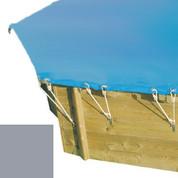 Bâche hiver secur gris pour piscine bois original hexa 400 x 400