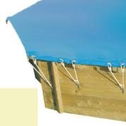Bâche hiver secur sable pour piscine bois original hexa 400 x 400