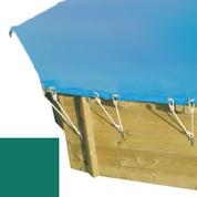 Bâche hiver secur vert pour piscine bois original hexa 400 x 400