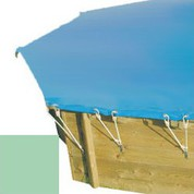 Bache hiver amande pour piscine bois original 430 x 430