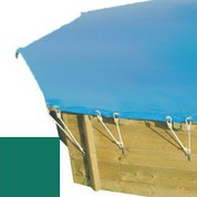 Bache hiver verte pour piscine bois original 430 x 430