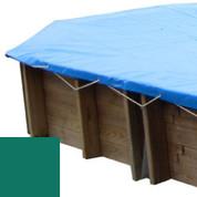Bâche hiver vert pour piscine bois original 656 x 456