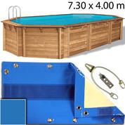 Bâche opaque piscine Cerland Octo 7.30 x 4.00 m Bleu