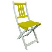 Chaise en acacia bicolore Burano muscade/vert anis
