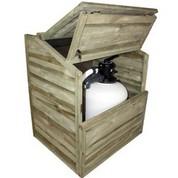 Coffre de filtration pour piscine bois avec fond - H 143