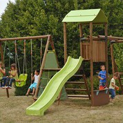 aire de jeux en bois avec balan oire et toboggan jardin. Black Bedroom Furniture Sets. Home Design Ideas