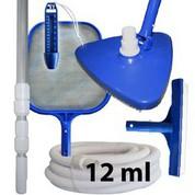 Kit nettoyage piscine avec manche et tuyau 12 ml
