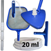 Kit nettoyage piscine avec manche et tuyau 20 ml