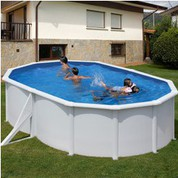 Kit piscine hors-sol acier Fidji ovale 2 renforts 500 x 350 x 120 cm