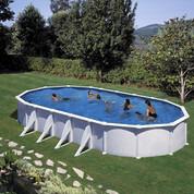 Kit piscine hors-sol acier Fidji ovale 8 renforts 800 x 470 x 120 cm