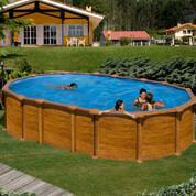 Kit piscine hors-sol Amazonia acier aspect bois ovale 2 renforts