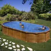 Kit piscine hors-sol Amazonia acier aspect bois ovale 3 renforts