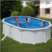 Kit piscine hors-sol Atlantis acier blanc ovale 2 renforts 500 x 300 x H132 cm