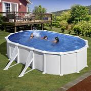 Kit piscine hors-sol Atlantis acier blanc ovale 4 renforts 610 x 375 x 132 cm