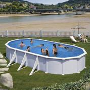 Kit piscine hors-sol Atlantis acier blanc ovale 6 renforts 730 x 375 x H132 cm