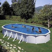 Kit piscine hors-sol Atlantis acier blanc ovale 8 renforts 1000 x 550 x H132 cm