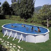 Kit piscine hors-sol Atlantis acier blanc ovale 8 renforts 800 x 470 x H132 cm