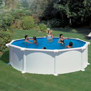 Kit piscine hors-sol Atlantis acier blanc ronde 460 x H132 cm