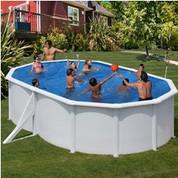 Kit piscine hors-sol Azores acier blanc ovale 2 renforts 500 x 300 x H132 cm