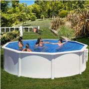 Kit piscine hors-sol Azores acier blanc ronde Ø460 x H132 cm