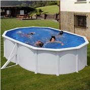 Kit piscine hors-sol Bora Bora acier blanc ovale 2 renforts 500 x 300 x H120 cm