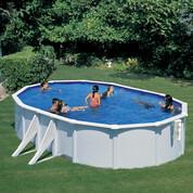 Kit piscine hors-sol Bora Bora acier blanc ovale 4 renforts 610 x 375 x H120 cm