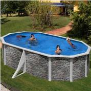 Kit piscine hors-sol Cerdeña acier aspect pierre ovale 2 renforts apparents 500 x 300 x H120 cm
