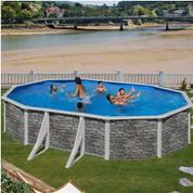 Kit piscine hors-sol Cerdeña acier aspect pierre ovale 4 renforts apparents 610 x 375 x H120 cm