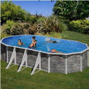 Kit piscine hors-sol Cerdeña acier aspect pierre ovale 6 renforts apparents 730 x 375 x H120 cm