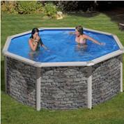 Kit piscine hors-sol Cerdeña acier aspect pierre ronde Ø240 x H120 cm