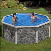 Kit piscine hors-sol Cerdeña acier aspect pierre ronde Ø350 x H120 cm