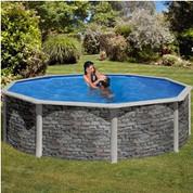 Kit piscine hors-sol Cerdeña acier aspect pierre ronde Ø460 x H120 cm