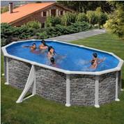 Kit piscine hors-sol Corcega acier aspect pierre ovale 2 renforts 500 x 300 x H132 cm