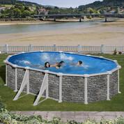 Kit piscine hors-sol Corcega acier aspect pierre ovale 4 renforts 610 x 375 x H132 cm