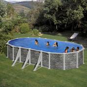 Kit piscine hors-sol Corcega acier aspect pierre ovale 6 renforts 730 x 375 x H132 cm