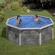 Kit piscine hors-sol Corcega acier aspect pierre ronde Ø350 x H132cm