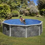 Kit piscine hors-sol Corcega acier aspect pierre ronde Ø460 x H132cm