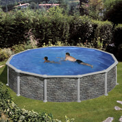 Kit piscine hors-sol Corcega acier aspect pierre ronde Ø550 x H132cm