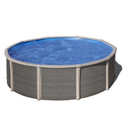 Kit piscine hors sol Fusion acier aspect rotin ronde - Ø 4.80 m x H.1.35 m