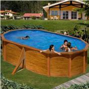 Kit piscine hors-sol Maldivas acier aspect bois ovale 2 renforts 500 x 300 x H132 cm