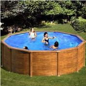 Kit piscine hors-sol Maldivas acier aspect bois ronde Ø460 x H132 cm